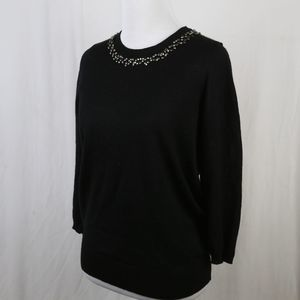 Loft Thin Wool Sweater Black Jeweled SP